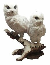 WHITE SNOW OWLS PERCHING ON TREE BRANCH SCULPTURE OWL STATUE FIGURINE