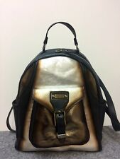 elenco Rucksack echt Leder backpack groß mettalic gold silber anthrazit Luxus