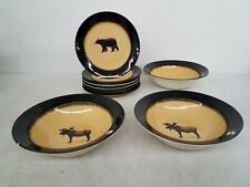 Brushwerks Stoneware by Big Sky Carvers 8pc Lot Plates & Bowls