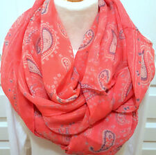 """Ladies Lightweight Sheer Coral and Gray Paisley Infinity Scarf Soft 68"""" L New US"""