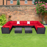 12PC Rattan Wicker Patio Furniture Set Sectional Sofa Couch Yard W/Red Cushion