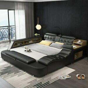 Genuine leather bed frame Soft Beds massager storage safe  Multiple Function USB