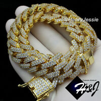 """16""""-30""""MEN 14K GOLD FINISH 14MM BLING GOLD MIAMI CUBAN CURB CHAIN NECKLACE*BGN6"""