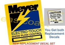 2 Meyer Electro Touch Pump MP2 Snow Plow decal 1 Mini Torq + E47 Pump Decal E-47