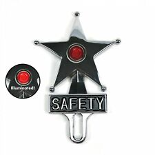 Light Up Red Jewel Vintage Style Safety Star License Plate Topper Hot Rat Rod