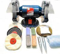 """200W Bench Grinder, 6"""" Metal Grinding and 4"""" Metal Polishing Machine / Kit"""