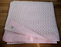 "Satin Edged CELLULAR BLANKET 98"" x 98"" Pink Vintage M&S Camping Throw Retro"