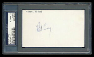 RODNEY CRAIG SIGNED INDEX CARD PSA/DNA AUTOGRAPHED ROD SEATTLE MARINERS INDIANS
