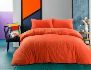 100% Cotton Digital Plain Dyed Orange Color Super Soft Duvet Cover Set All Sizes
