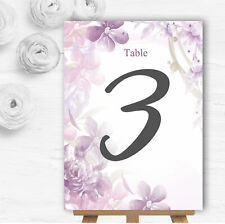 Pale Purple Watercolour Floral Personalised Wedding Table Number Name Cards