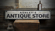 Antique Store, Custom Store Owner Name - Rustic Distressed Wood Sign ENS1001384