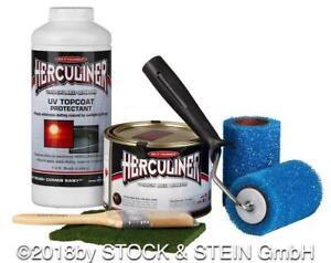HERCULINER Beschichtungsfarben Kit schwarz 0,946 Liter u. UV Schutz u. Aufkleber