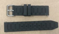 20mm Black Silicone Sport Watchband Comfort Strap For Wristwatch