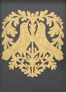 Framed Scherenschnitte Paper Cutting Love Bird Heart Folk Art Green Wood Picture