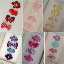4pk HAIRCLIPS ALLIGATOR HAIR CLIPS HANDMADE EMBELLISHED TODDLER FLOWERS BOWS