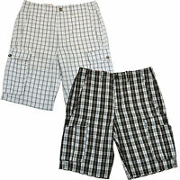 Levis Mens Cargo Shorts Flat Front Plaid Casual Bottoms 29 30 31 32 33 34 36 New