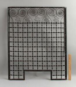 Antique circa-1900 Wrought Iron Bank Teller Window, Modernist Faces, NR