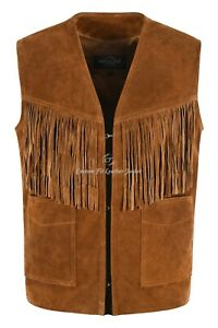 MENS WESTERN FRINGE Tan Suede Waistcoat Classic Vintage Real Leather Vest 1879