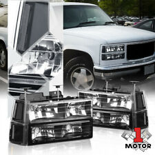 Black Housing Headlight Clear Turn Signal+Bumper for 94-00 Gmc C10 Gmt400 C/K Ck (Fits: Gmc)