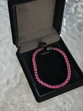 """AAA 12ct Round Ruby Tennis Bracelet 18k White Gold Plated Gemstone Jewelry 7.25"""""""