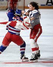 BOB PROBERT & TIE DOMI 8X10 PHOTO HOCKEY RANGERS BLACKHAWKS PICTURE NHL FIGHT