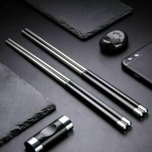 HOT Reusable Chopsticks Metal Korean Chinese Stainless Steel Chop Sticks [1Pair]