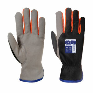 12 x Portwest A280 Wintershield Fleece Lined Leather Thermal Gloves Cold Protect