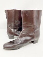 Enzo Angiolini Brown EASTRUT Zip Up Square Toe Boots 10 M Mid Calf