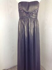 JANE NORMAN Metalic Purple Silver Strapless Evening Dress Ladies 16 BNWT 4403