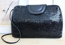 VINTAGE WHITING AND DAVIS SPARKLING BLACK METAL MESH SHOULDER BAG CLUTCH HANDBAG