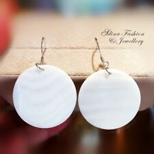 925 Sterling Silver Natural Shell Ladies & Women`s Round Fashion Dangle Earrings