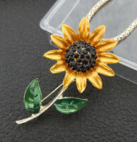 Betsey Johnson Yellow Sunflower Crystal Pendant Sweater Necklace/Brooch