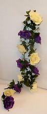 Rosengirlande violett /creme ca.250 cm  Blüte ca. 12 cm Kunstblumen