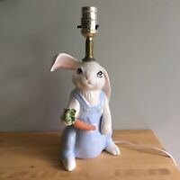 Vintage Porcelain Bunny Rabbit Carrot Lamp Nusery Baby Bedroom Blue Ceramic