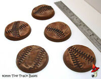 40mm x 5 Tire Track, Round Resin Bases  style 40k sci-fi