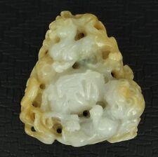 100% Natural A Jadeite (Hard Jade) Lion Tiger Pendant #CJ01112
