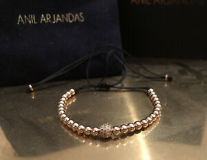Anil Arjandas Rose Gold Diamond Ball And Macrame Bracelet