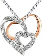 Amilril Collar, Collar Colgante de Corazón Mujer, Plata de Ley 925, Regalo para