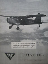 10/1953 PUB ALVIS AERO ENGINES LEONIDES DE HAVILLAND BEAVER SERIES 2 ORIGINAL AD