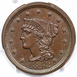 1848 N-21 R-3- PCGS MS 63 BN CAC Braided Hair Large Cent Coin 1c