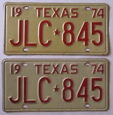Texas 1974 License Plate PAIR - NICE QUALITY # JLC-845