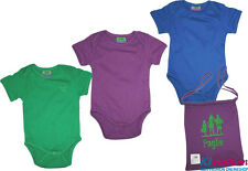 ☼NEU☼ 3 Babybodys Kurzarm im Stoffbeutel von ~ PAGLIE ~ Grün + Lila + Blau Gr.62