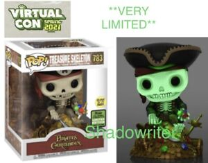 2021 ECCC SHARED FUNKO POP PIRATES CARIBBEAN TREASURE SKELETON GOLD DELUXE GLOW