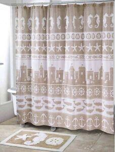 "Avanti Sea & Sand Shower Curtain Cream Beige Coastal Beach Cotton 72"" X 72"""