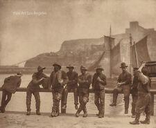 "Frank Meadows Sutcliffe Photo, "" Whitby Fishermen, Along the Harbour Rail"" 1880s"