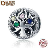 Bamoer Solid S925 Sterling Silver Charm Colorful Life & Cz Fit Bracelet Jewelry