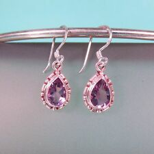 Faceted Amethyst Gemstone Teardrop 925 Sterling Silver Handmade Dangle Earring