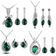 Verde Smeraldo Set Gioielli Natale Nuova Orecchini Ciondolo con Collana Catenina