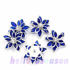 10PCs Flower Embellishment HOT Findings Rhinestone Flatback Royalblue 23x24mm