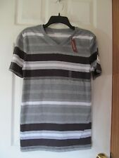 NWT Men's ARIZONA JEAN CO. V-NECK T-SHIRT size X-Small,Phantom Grey Stripe